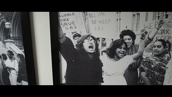 Still from the film Sisters! (Petra Bauer and Southall Black Sisters, 2011, 72mi